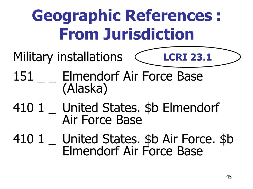 45 Military installations 151 _ _Elmendorf Air Force Base (Alaska) 410 1 _United States. $b Elmendorf Air Force Base 410 1 _United States. $b Air Forc