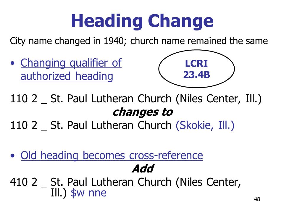 48 Heading Change City name changed in 1940; church name remained the same Changing qualifier of authorized heading 110 2 _St. Paul Lutheran Church (N