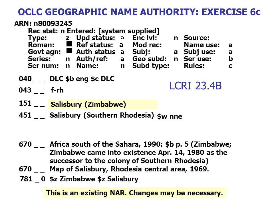 040 _ _DLC $b eng $c DLC 151 _ _Salisbury (Southern Rhodesia) 670 _ _Africa south of the Sahara, 1990: $b p. 5 (Zimbabwe; Zimbabwe came into existence