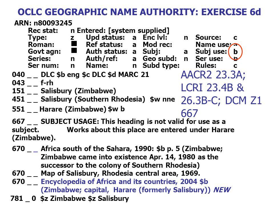 040 _ _DLC $b eng $c DLC $d MARC 21 043 _ _f-rh 151 _ _Salisbury (Zimbabwe) 451 _ _Salisbury (Southern Rhodesia) $w nne 670 _ _Africa south of the Sah