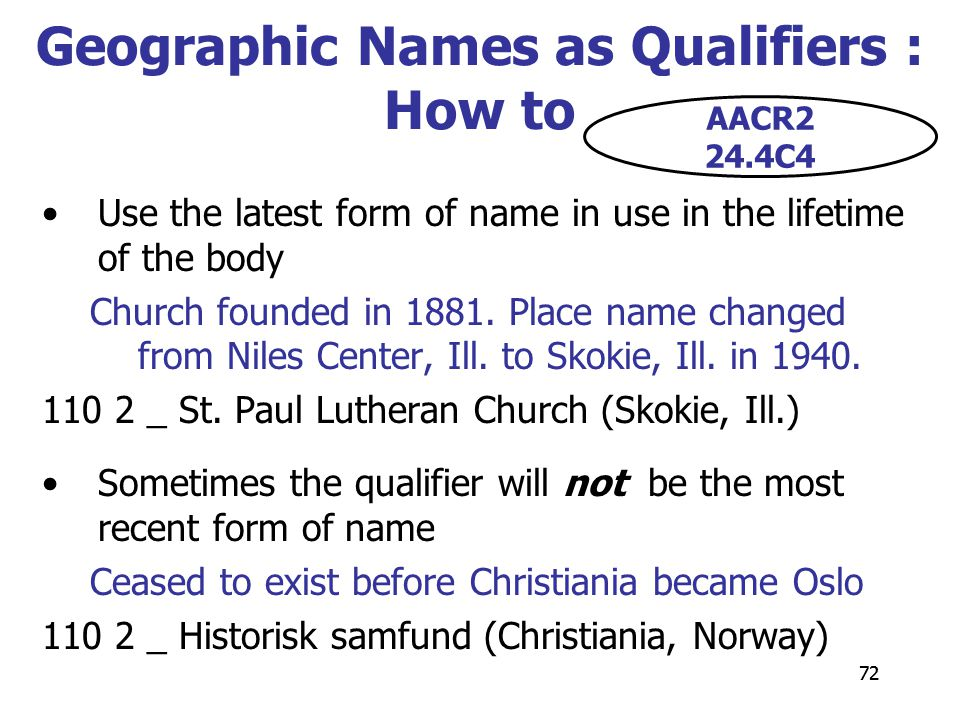 72 Geographic Names as Qualifiers : How to Use the latest form of name in use in the lifetime of the body Church founded in 1881.
