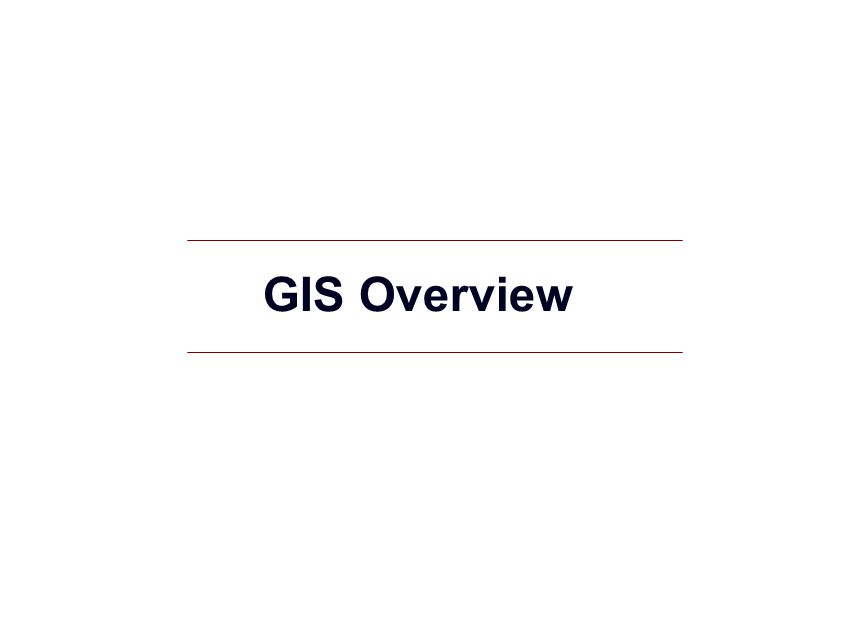 GIS Overview