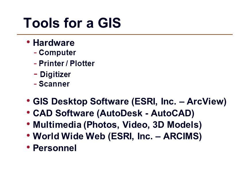 Tools for a GIS Hardware - Computer - Printer / Plotter - Digitizer - Scanner GIS Desktop Software (ESRI, Inc. – ArcView) CAD Software (AutoDesk - Aut