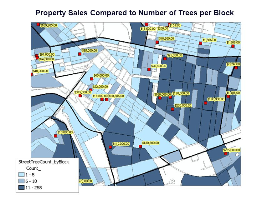 Property Sales Compared to Number of Trees per Block