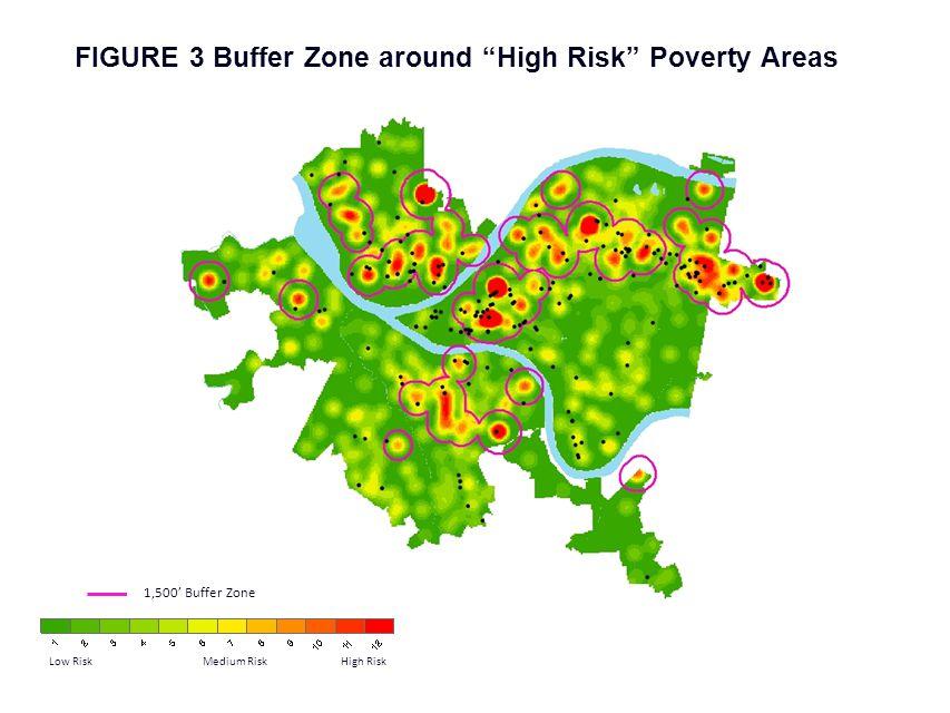 "FIGURE 3 Buffer Zone around ""High Risk"" Poverty Areas Low Risk Medium Risk High Risk 1,500' Buffer Zone"