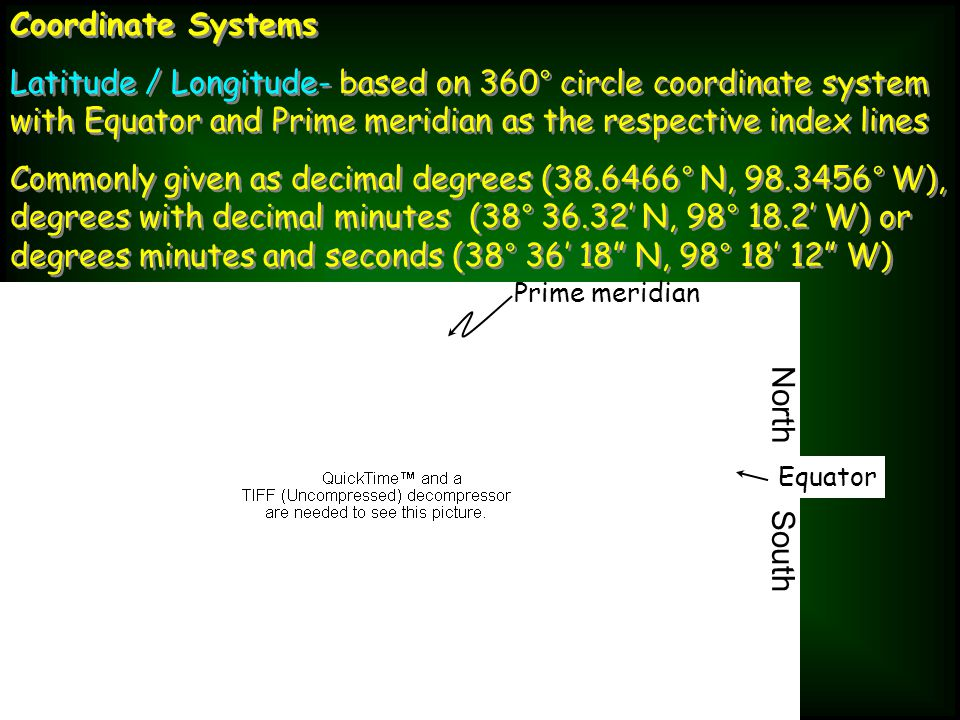 Coordinate Systems Latitude / Longitude- based on 360° circle coordinate system with Equator and Prime meridian as the respective index lines Commonly given as decimal degrees (38.6466° N, 98.3456° W), degrees with decimal minutes (38° 36.32' N, 98° 18.2' W) or degrees minutes and seconds (38° 36' 18 N, 98° 18' 12 W) Coordinate Systems Latitude / Longitude- based on 360° circle coordinate system with Equator and Prime meridian as the respective index lines Commonly given as decimal degrees (38.6466° N, 98.3456° W), degrees with decimal minutes (38° 36.32' N, 98° 18.2' W) or degrees minutes and seconds (38° 36' 18 N, 98° 18' 12 W) North South Prime meridian Equator
