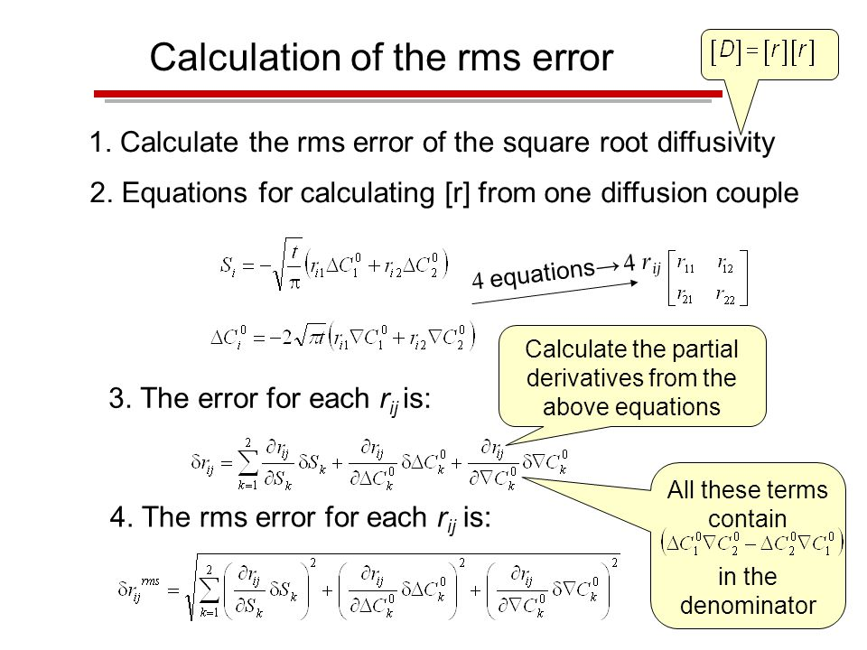 Calculation of the rms error 1. Calculate the rms error of the square root diffusivity 2.