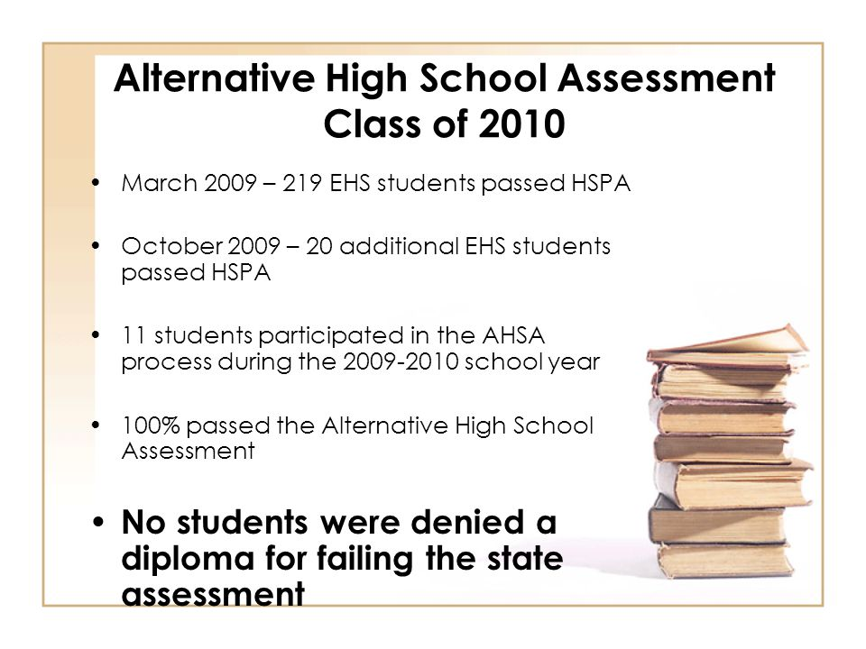 Alternative High School Assessment Class of 2010 March 2009 – 219 EHS students passed HSPA October 2009 – 20 additional EHS students passed HSPA 11 students participated in the AHSA process during the 2009-2010 school year 100% passed the Alternative High School Assessment No students were denied a diploma for failing the state assessment