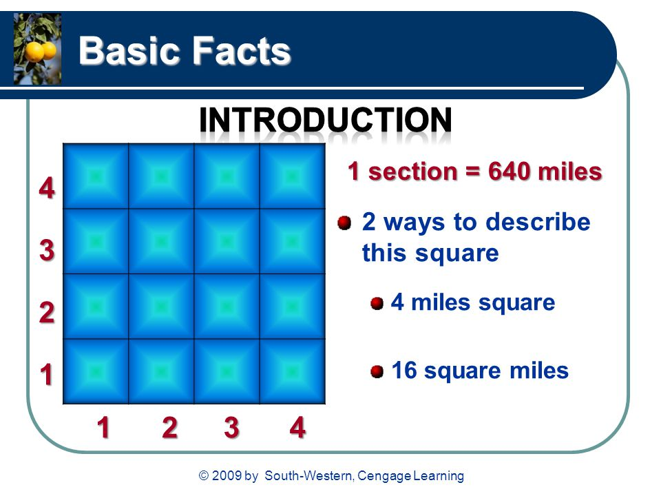 © 2009 by South-Western, Cengage Learning Basic Facts 2 ways to describe this square 4 miles square 16 square miles 1 12 2 3 3 4 4 1 section = 640 mil