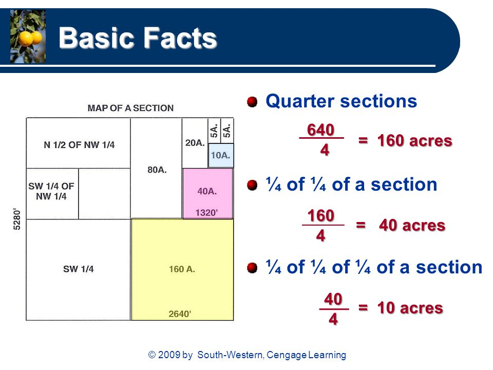 © 2009 by South-Western, Cengage Learning Basic Facts Quarter sections ¼ of ¼ of a section ¼ of ¼ of ¼ of a section = 160 acres 160 4 = 40 acres 640 4 40 4 = 10 acres