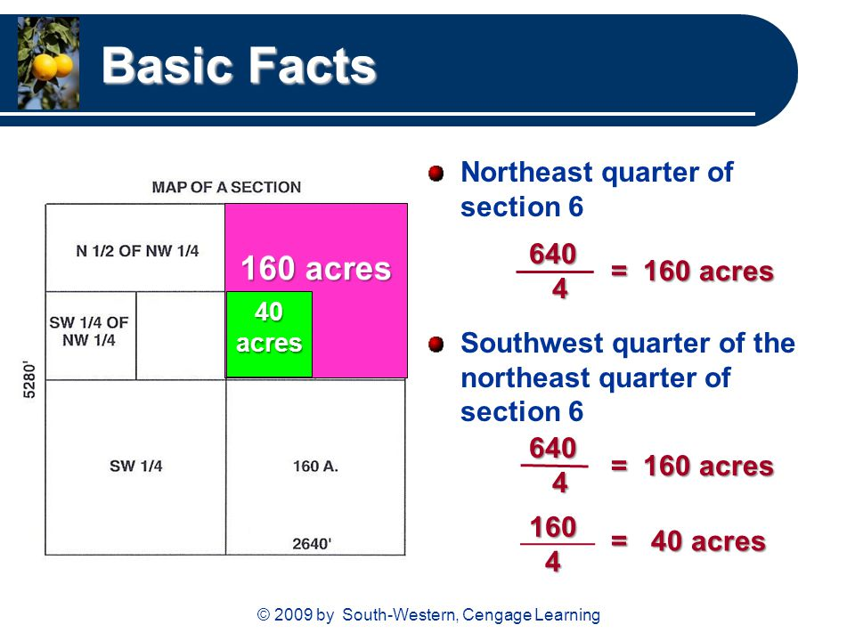 © 2009 by South-Western, Cengage Learning Basic Facts Northeast quarter of section 6 Southwest quarter of the northeast quarter of section 6 = 160 acr