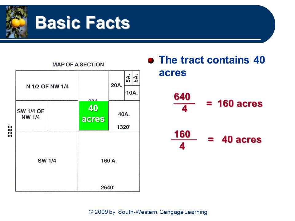 © 2009 by South-Western, Cengage Learning Basic Facts The tract contains 40 acres = 160 acres 160 4 = 40 acres 640 4 40 acres