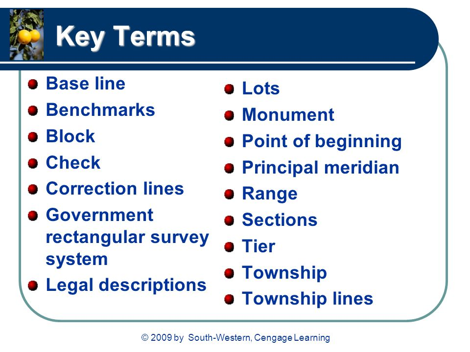 Key Terms Base line Benchmarks Block Check Correction lines Government rectangular survey system Legal descriptions Lots Monument Point of beginning P