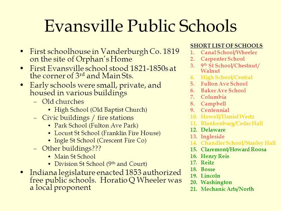 Evansville Public Schools SHORT LIST OF SCHOOLS 1.Canal School/Wheeler 2.Carpenter School 3.9 th St School/Chestnut / Walnut 4.High School/Central 5.F