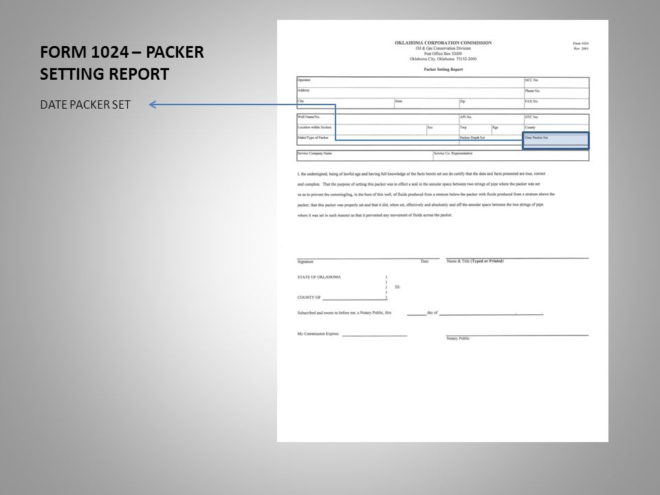 FORM 1024 – PACKER SETTING REPORT DATE PACKER SET