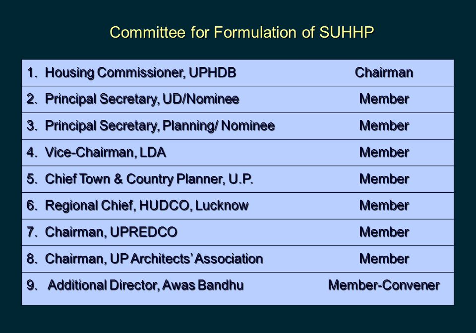 1. Housing Commissioner, UPHDB Chairman 2. Principal Secretary, UD/Nominee Member 3. Principal Secretary, Planning/ Nominee Member 4. Vice-Chairman, L