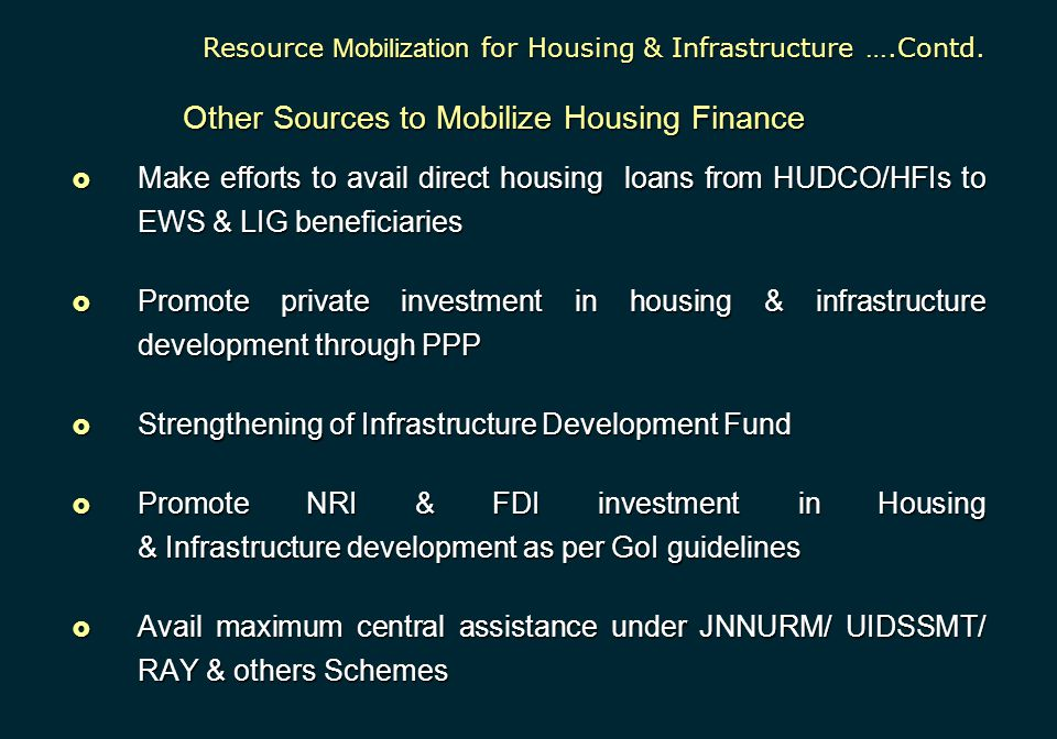  Make efforts to avail direct housing loans from HUDCO/HFIs to EWS & LIG beneficiaries  Promote private investment in housing & infrastructure devel