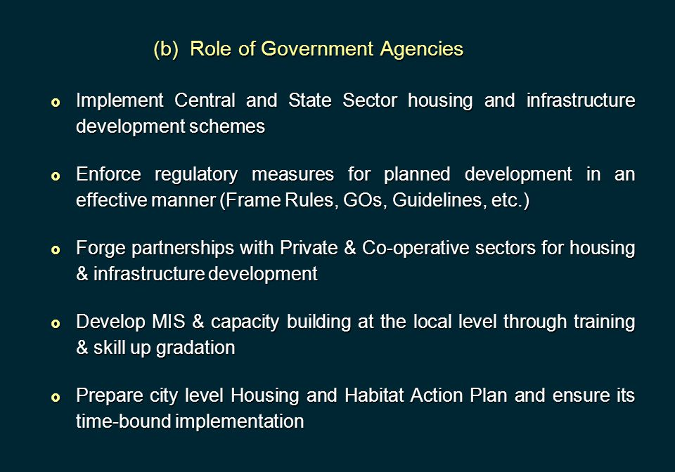 (b) Role of Government Agencies  Implement Central and State Sector housing and infrastructure development schemes  Enforce regulatory measures for