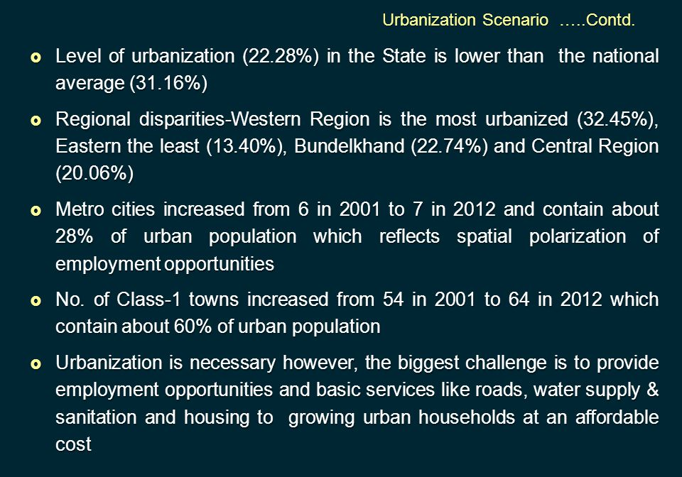  Level of urbanization (22.28%) in the State is lower than the national average (31.16%)  Regional disparities-Western Region is the most urbanized