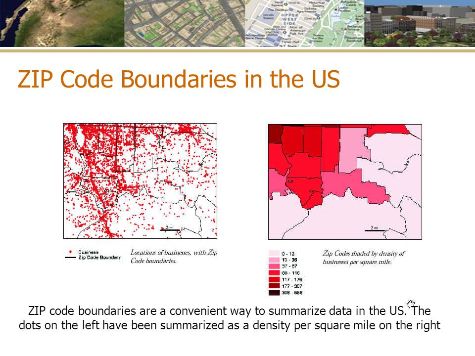 ZIP code boundaries are a convenient way to summarize data in the US. The dots on the left have been summarized as a density per square mile on the ri