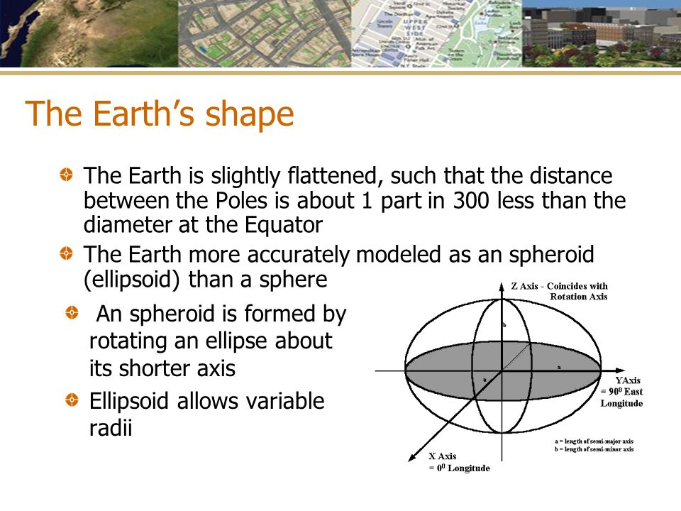 The Earth's shape The Earth is slightly flattened, such that the distance between the Poles is about 1 part in 300 less than the diameter at the Equat