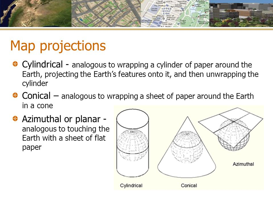 Map projections Azimuthal or planar - analogous to touching the Earth with a sheet of flat paper Cylindrical - analogous to wrapping a cylinder of pap