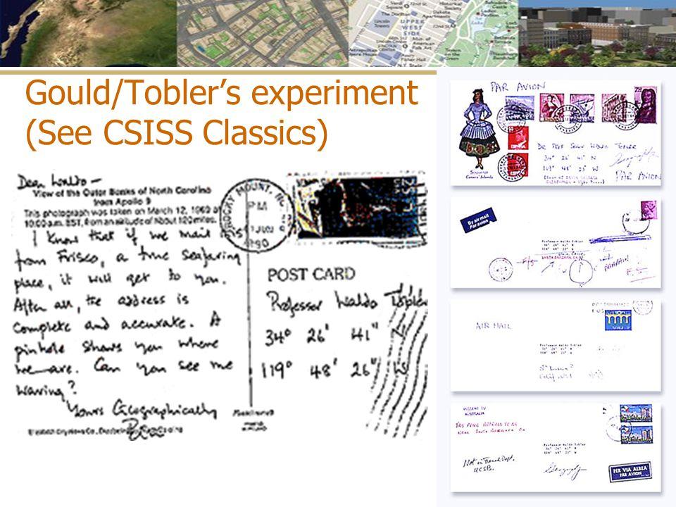 Gould/Tobler's experiment (See CSISS Classics)