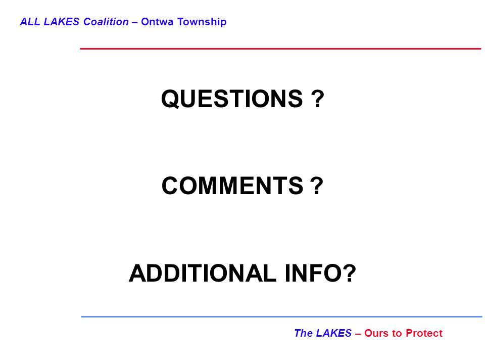 ALL LAKES Coalition – Ontwa Township The LAKES – Ours to Protect QUESTIONS .