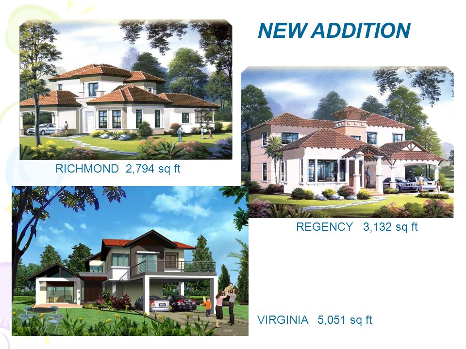 VIRGINIA 5,051 sq ft REGENCY 3,132 sq ft RICHMOND 2,794 sq ft NEW ADDITION