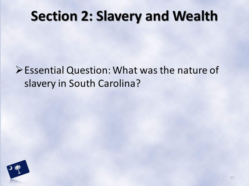 Section 2: Slavery and Wealth  Essential Question: What was the nature of slavery in South Carolina? 11