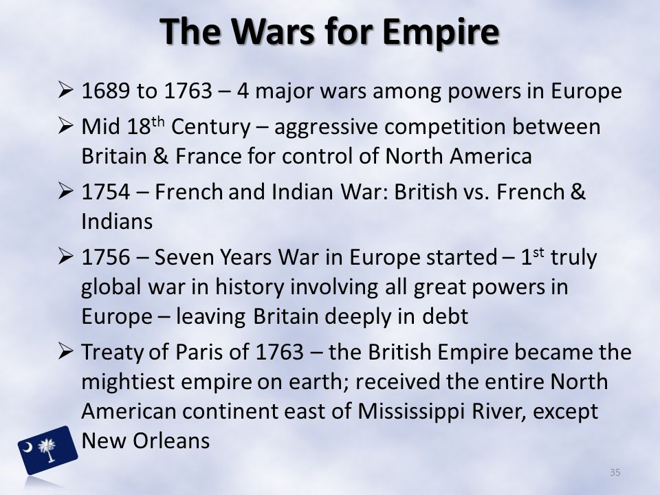  1689 to 1763 – 4 major wars among powers in Europe  Mid 18 th Century – aggressive competition between Britain & France for control of North Americ