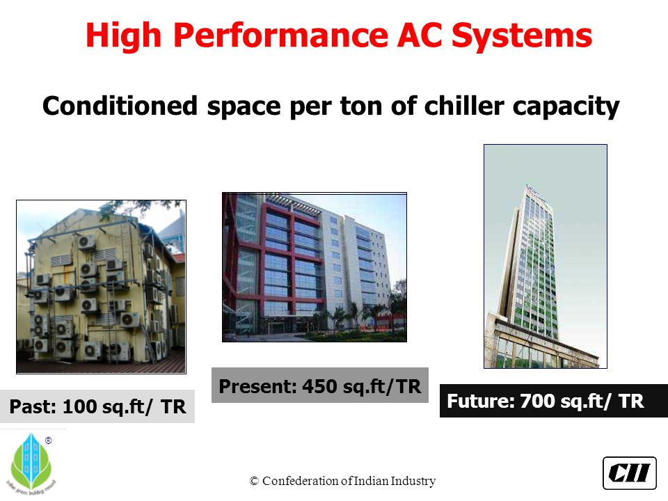 © Confederation of Indian Industry ® Conditioned space per ton of chiller capacity Past: 100 sq.ft/ TR Future: 700 sq.ft/ TR Present: 450 s.
