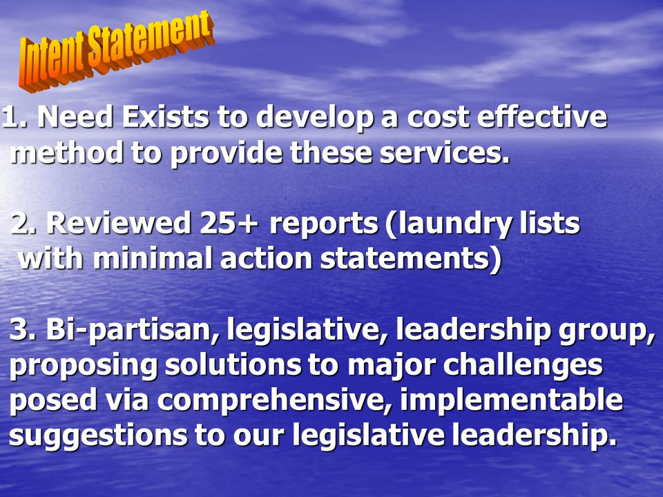 Senate Resolution 60 Philosophy/Priorities What we create/suggest has to integrate within a system involving Multiple forms of government Small Community Large Community Assure an ability to pay, and not change the responsibility of local government rural suburban Fire/Rescue/EMS State Control Points: -authority to operate -distribution of funds -legislation for incentives -regionalization MunicipalOther Independent Non-profit Municipal Directed TBD -district -authority suburban urban