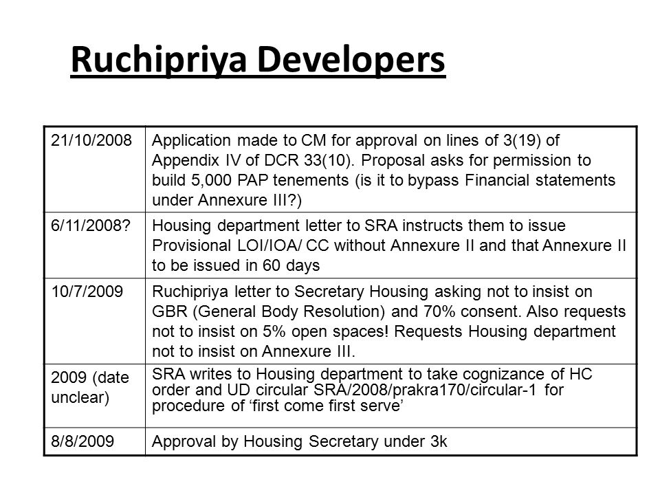 Ruchipriya Developers 21/10/2008Application made to CM for approval on lines of 3(19) of Appendix IV of DCR 33(10).