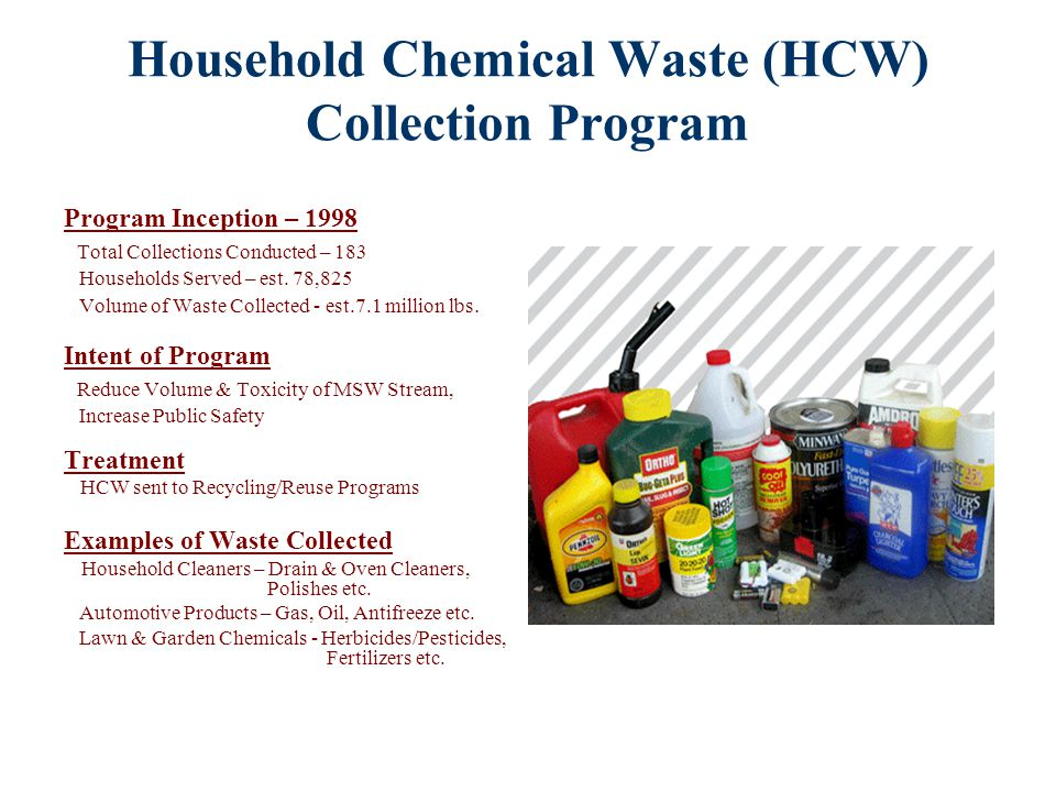 Household Chemical Waste (HCW) Collection Program Program Inception – 1998 Total Collections Conducted – 183 Households Served – est.