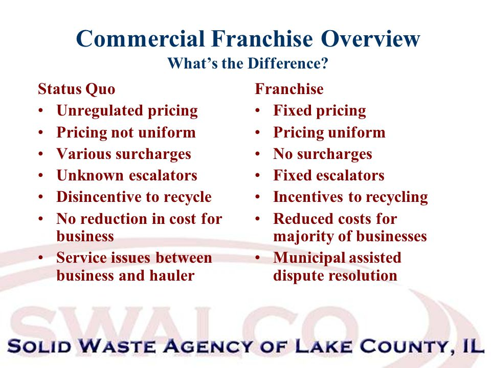 Commercial Franchise Overview What's the Difference.