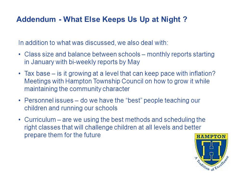 Addendum - What Else Keeps Us Up at Night .