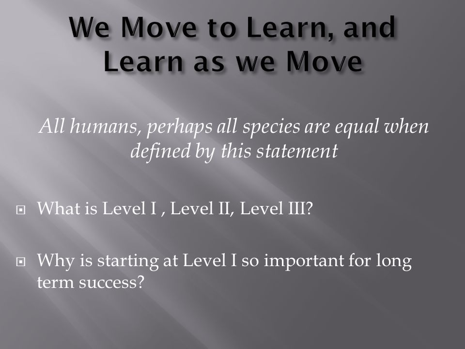 All humans, perhaps all species are equal when defined by this statement  What is Level I, Level II, Level III.