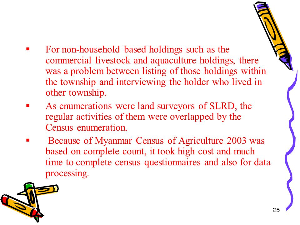 25  For non-household based holdings such as the commercial livestock and aquaculture holdings, there was a problem between listing of those holdings