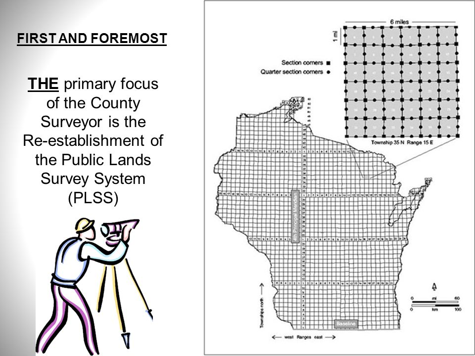 THE primary focus of the County Surveyor is the Re-establishment of the Public Lands Survey System (PLSS) FIRST AND FOREMOST