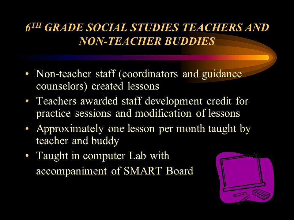 6 TH GRADE SOCIAL STUDIES TEACHERS AND NON-TEACHER BUDDIES Non-teacher staff (coordinators and guidance counselors) created lessons Teachers awarded staff development credit for practice sessions and modification of lessons Approximately one lesson per month taught by teacher and buddy Taught in computer Lab with accompaniment of SMART Board