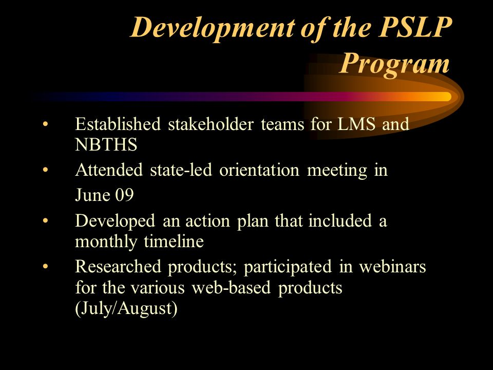 Development of the PSLP Program Established stakeholder teams for LMS and NBTHS Attended state-led orientation meeting in June 09 Developed an action plan that included a monthly timeline Researched products; participated in webinars for the various web-based products (July/August)