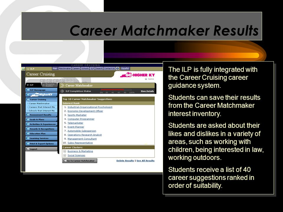Career Matchmaker Results The ILP is fully integrated with the Career Cruising career guidance system.