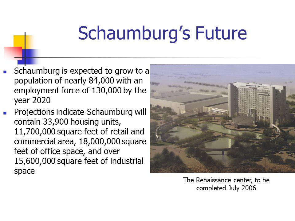 Schaumburg's Future Schaumburg is expected to grow to a population of nearly 84,000 with an employment force of 130,000 by the year 2020 Projections indicate Schaumburg will contain 33,900 housing units, 11,700,000 square feet of retail and commercial area, 18,000,000 square feet of office space, and over 15,600,000 square feet of industrial space The Renaissance center, to be completed July 2006