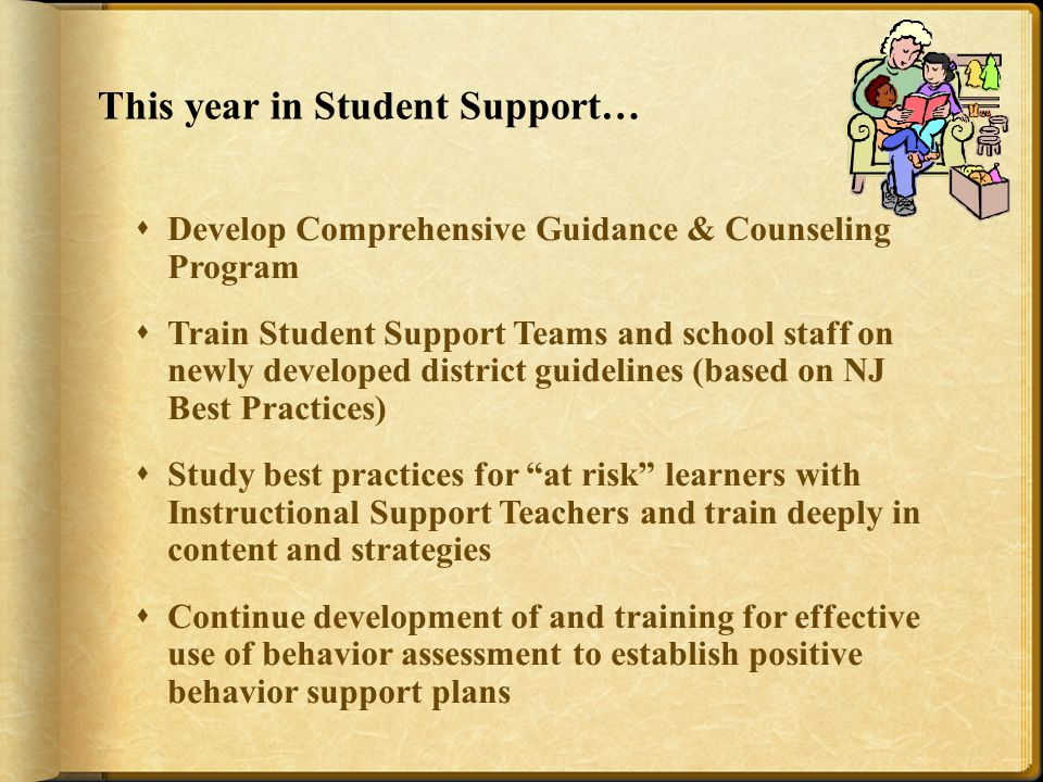 This year in Student Support…  Develop Comprehensive Guidance & Counseling Program  Train Student Support Teams and school staff on newly developed district guidelines (based on NJ Best Practices)  Study best practices for at risk learners with Instructional Support Teachers and train deeply in content and strategies  Continue development of and training for effective use of behavior assessment to establish positive behavior support plans