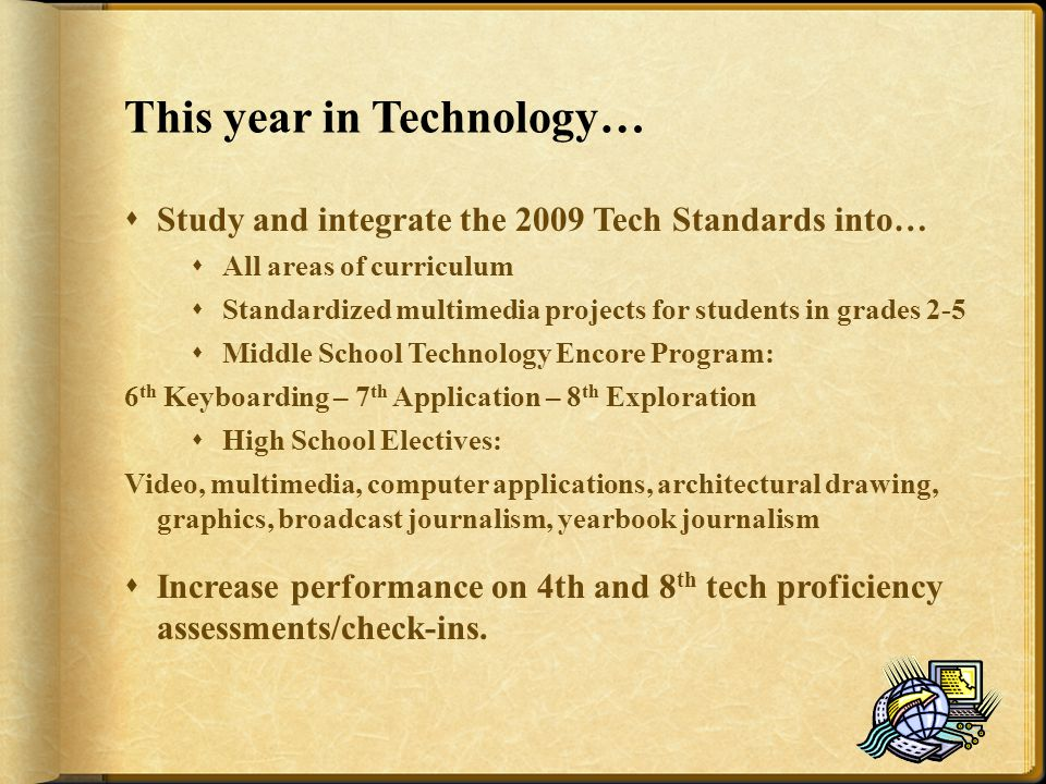 This year in Technology…  Study and integrate the 2009 Tech Standards into…  All areas of curriculum  Standardized multimedia projects for students in grades 2-5  Middle School Technology Encore Program: 6 th Keyboarding – 7 th Application – 8 th Exploration  High School Electives: Video, multimedia, computer applications, architectural drawing, graphics, broadcast journalism, yearbook journalism  Increase performance on 4th and 8 th tech proficiency assessments/check-ins.