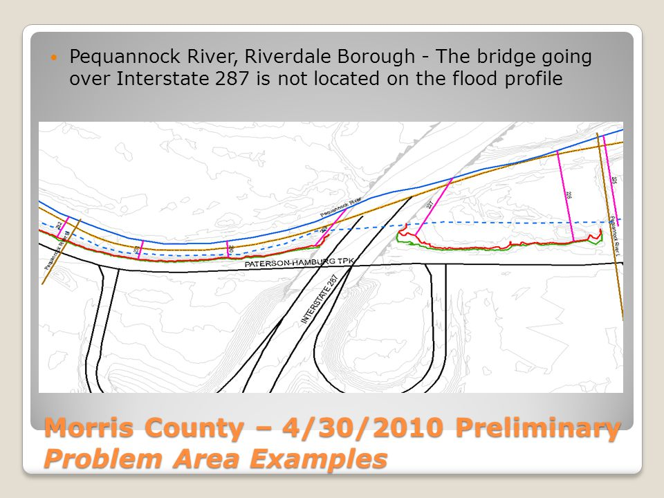 Morris County – 4/30/2010 Preliminary Problem Area Examples Pequannock River, Riverdale Borough - The bridge going over Interstate 287 is not located on the flood profile