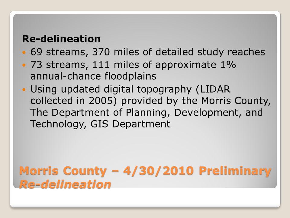 Morris County – 4/30/2010 Preliminary Studied Streams