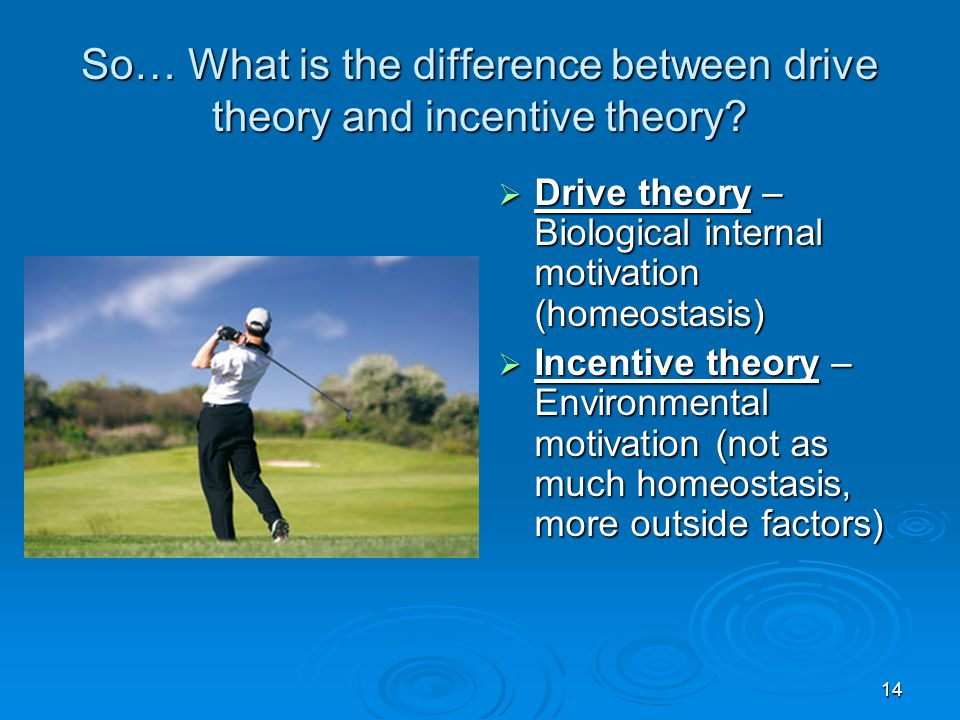 14 So… What is the difference between drive theory and incentive theory?  Drive theory – Biological internal motivation (homeostasis)  Incentive the