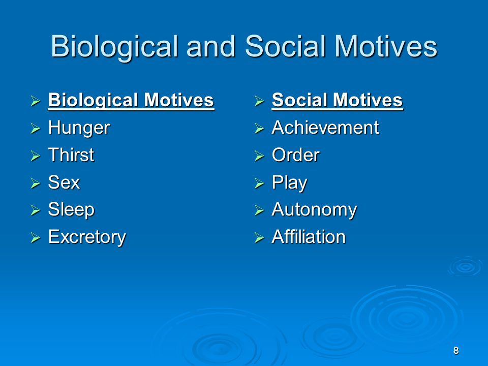 8 Biological and Social Motives  Biological Motives  Hunger  Thirst  Sex  Sleep  Excretory  Social Motives  Achievement  Order  Play  Auton